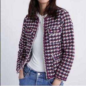Zara red blue tweed textured weave blazer jacket